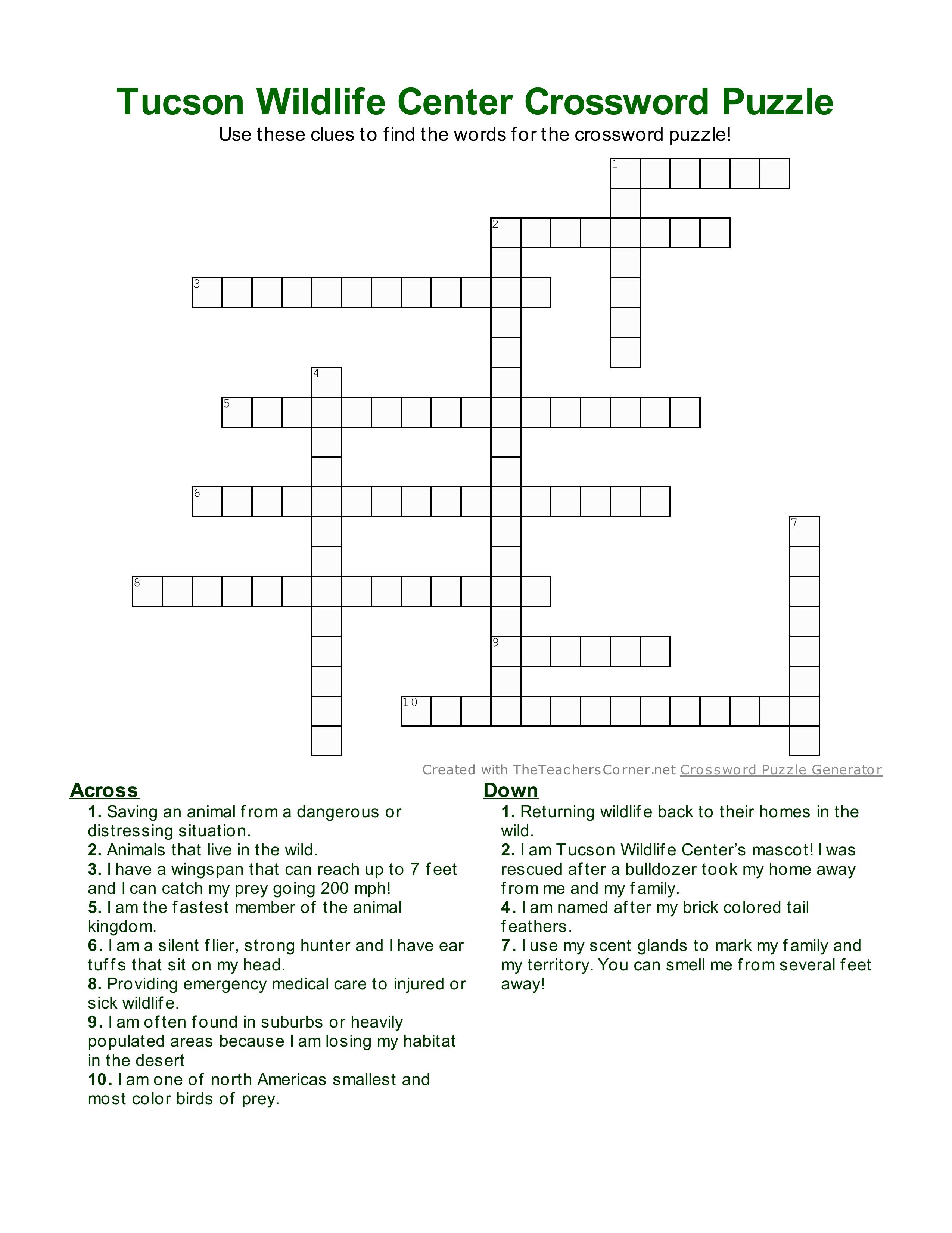 tucson-wildlife-crossword-puzzle